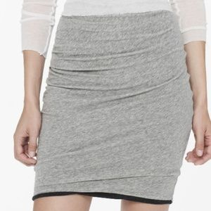 James Perse Gray Asymetrical Twisted Mini Skirt